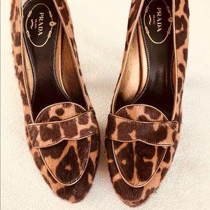 PRADA Leopard Calf Hair Leather Pumps Shoes